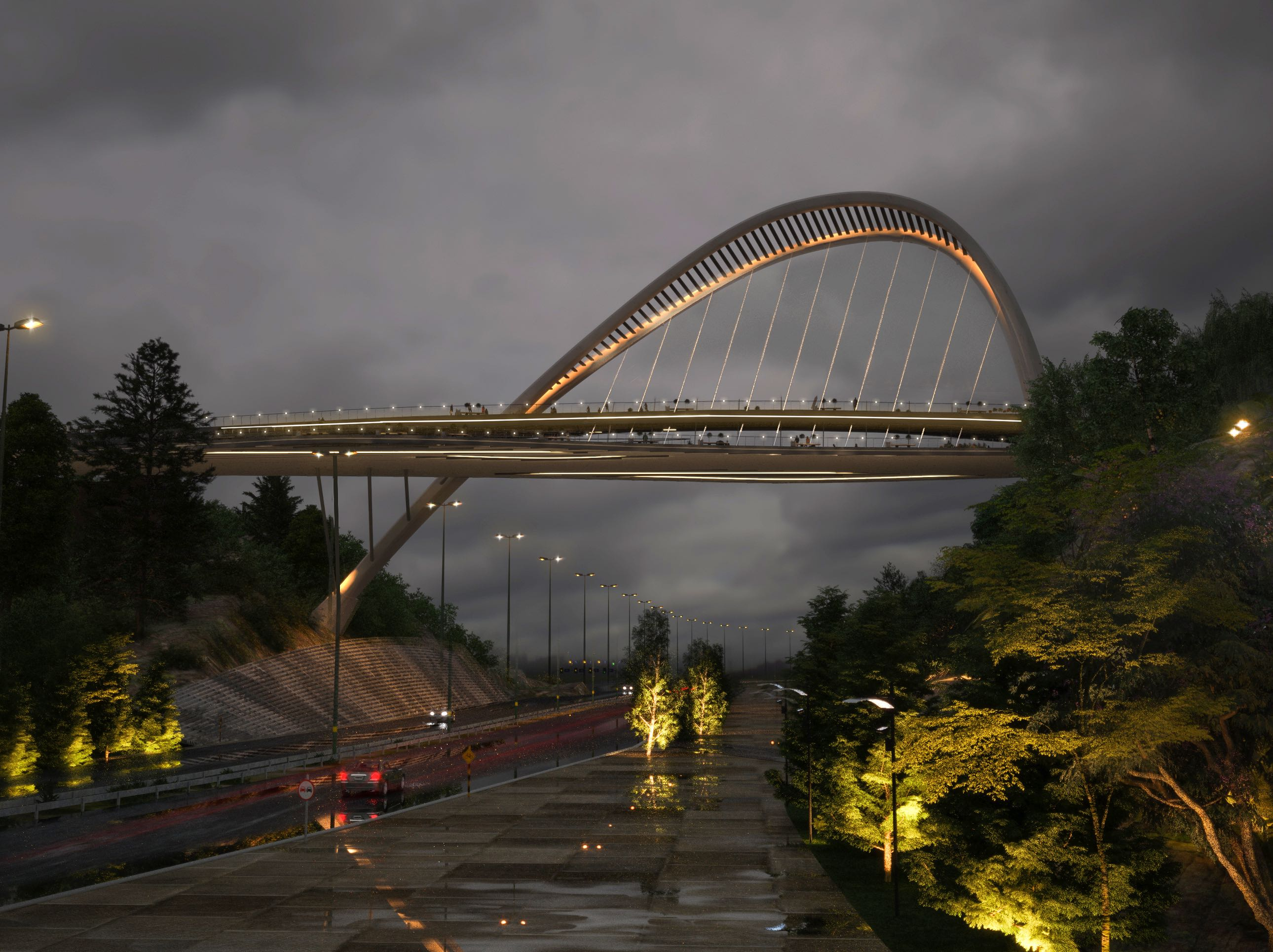 El Goli pedestrian bridge designed by Farho in Iran