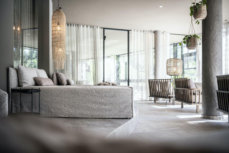 luxury hotel bedroom with big window