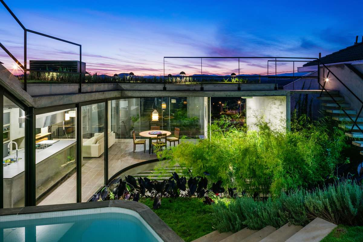 green garden roof with a fantastic view at sunset