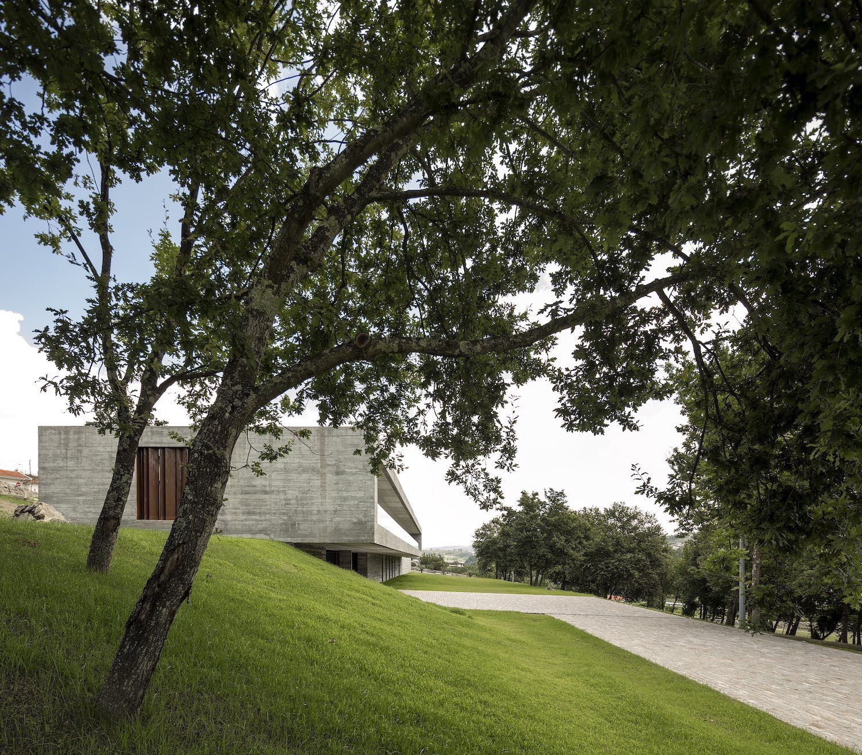 concrete home on a hill