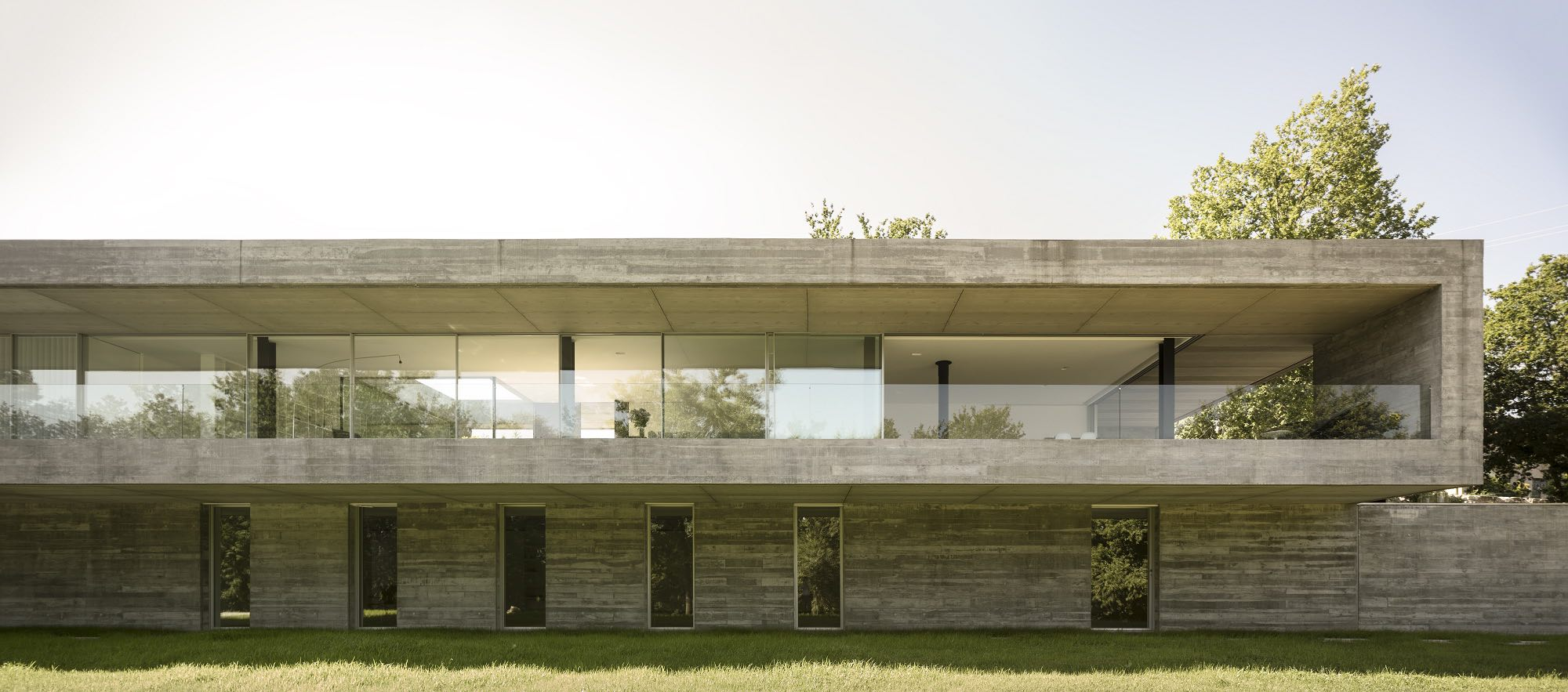 home facade with glass and concrete