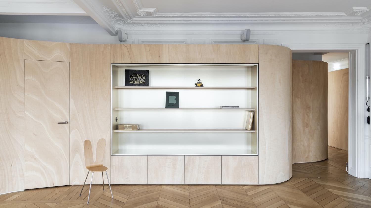 Wood Ribbon in Paris apartment by Toledano + architects