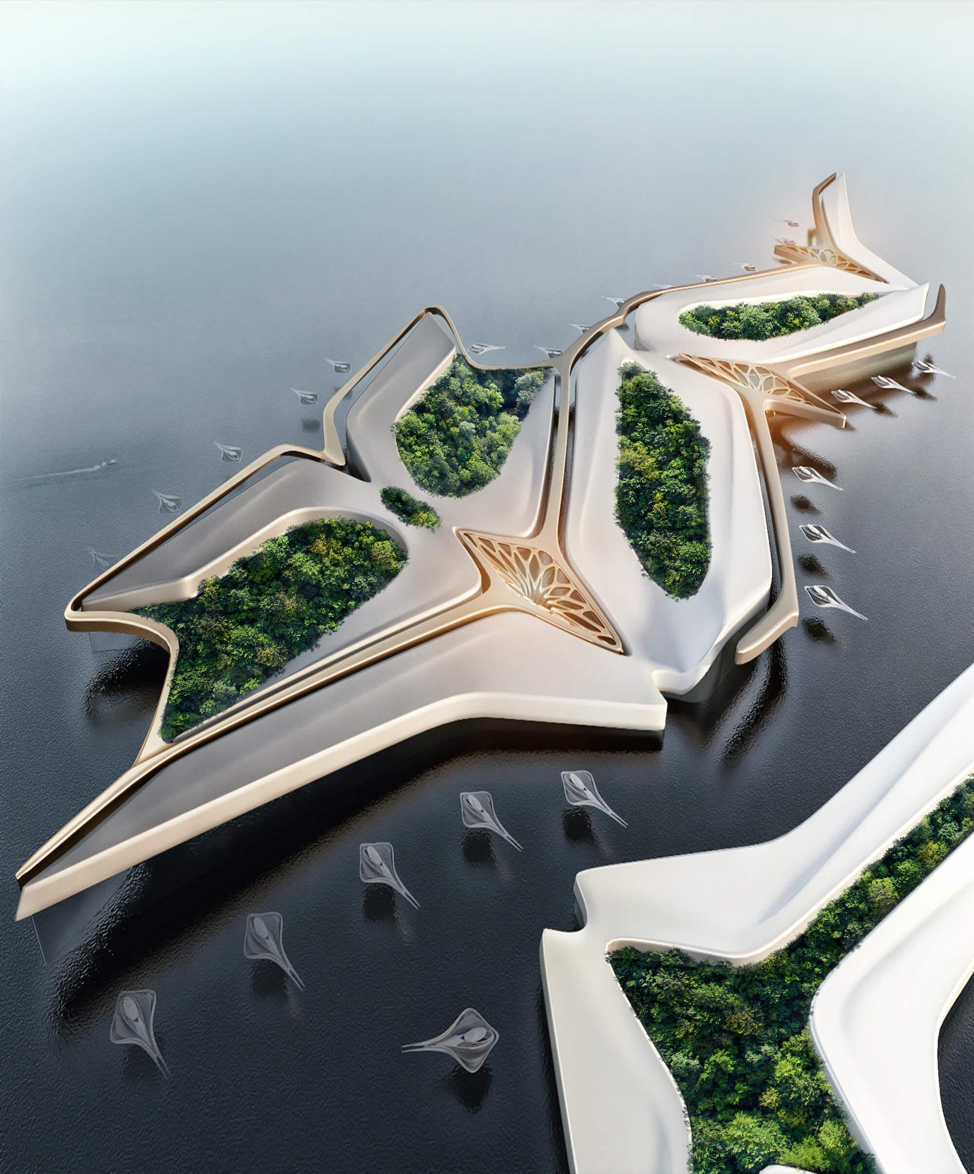 Ciudad Verde Flotante, diseño de Miroslav Naskov