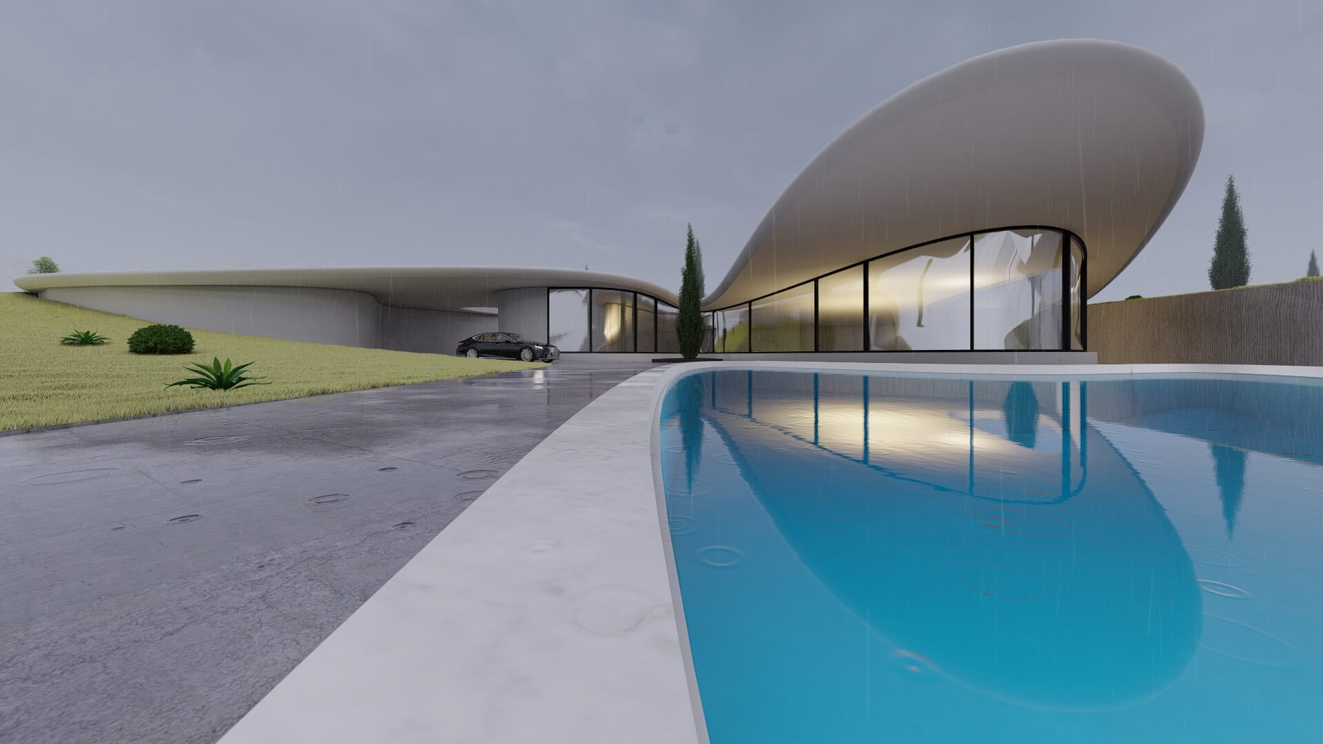 organic shaped house surrounded with green landscape